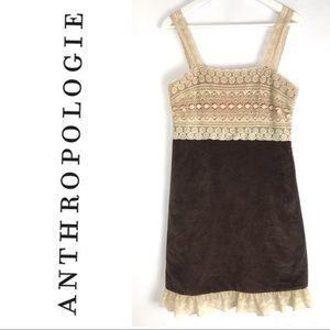 Anthropologie Zehanale Boho Brown Lace Dress 8